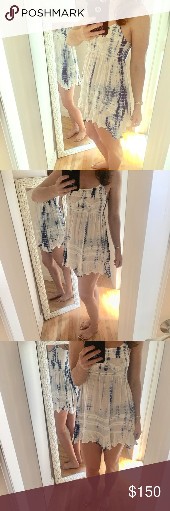 Blue and white beach dress. Baby doll Blue and white boho, beach dress en creme Dresses Mini