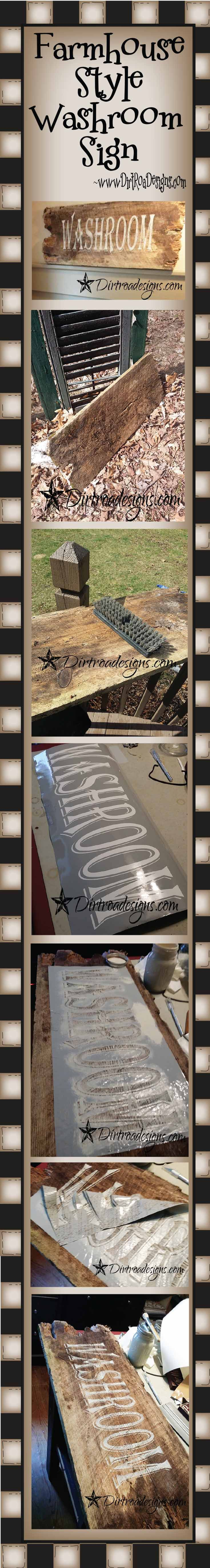 Farmhouse Style Washroom sign from DIrt Road Designs