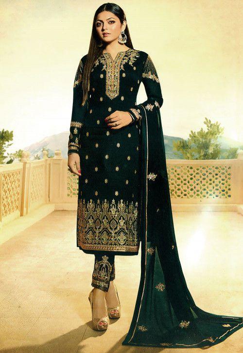 3af140702a Embroidered Georgette Pakistani Suit in Dark Green. Embroidered Georgette Pakistani  Suit in Dark Green Salwar Suits ...