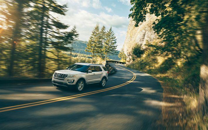 Descargar fondos de pantalla Ford Explorer, de carretera, de 2018, los coches, U502, Todoterrenos, coches americanos, Ford