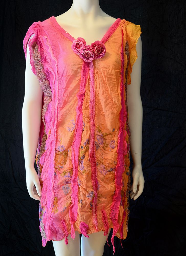 My Nuno Felt Dress with Silk Chiffon shading from pink to orange. A flower trim and pink merino wool.