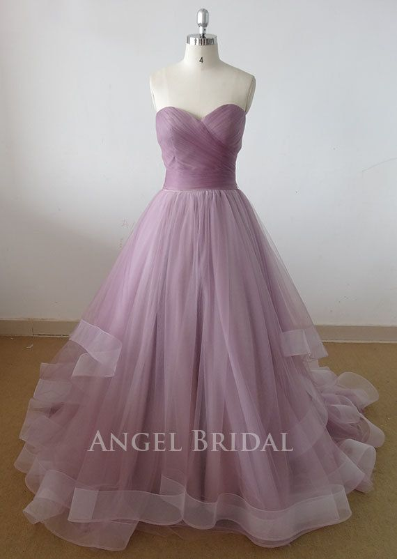 A-Line Light Grape  Tulle  Wedding dress, Wedding gown, wedding dresses, wedding gowns,Bridal gown