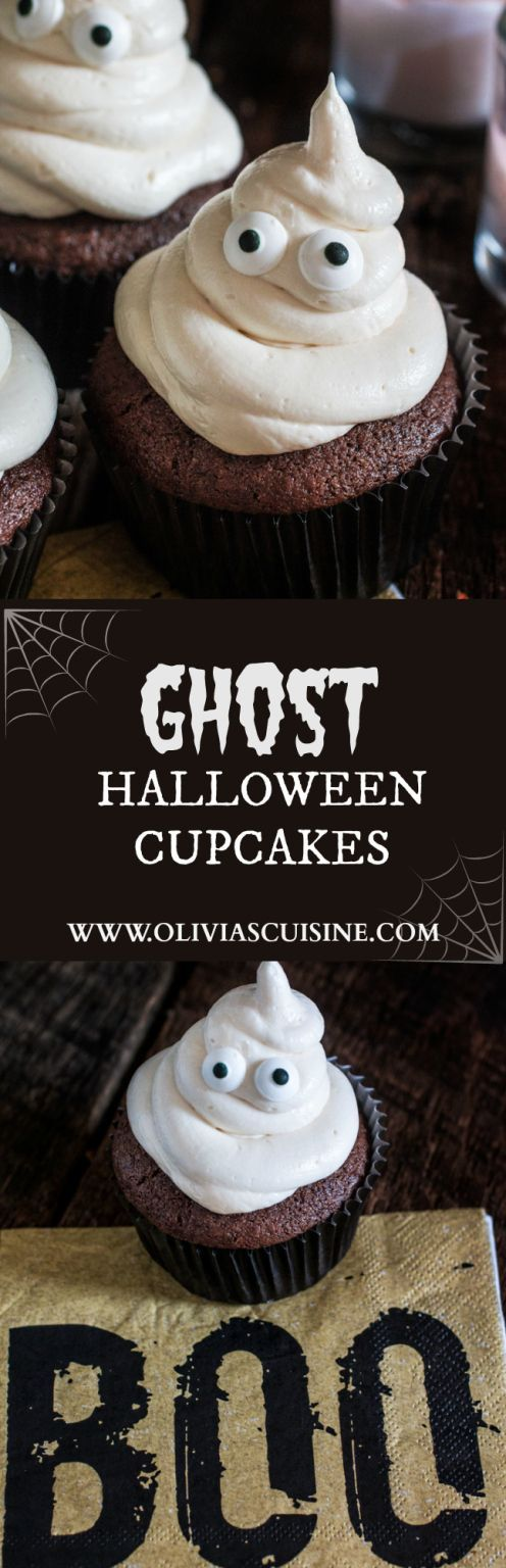 Ghost Halloween Cupcakes | http://www.oliviascuisine.com | A spooky yet delicious recipe to please kids and adults on this Halloween!