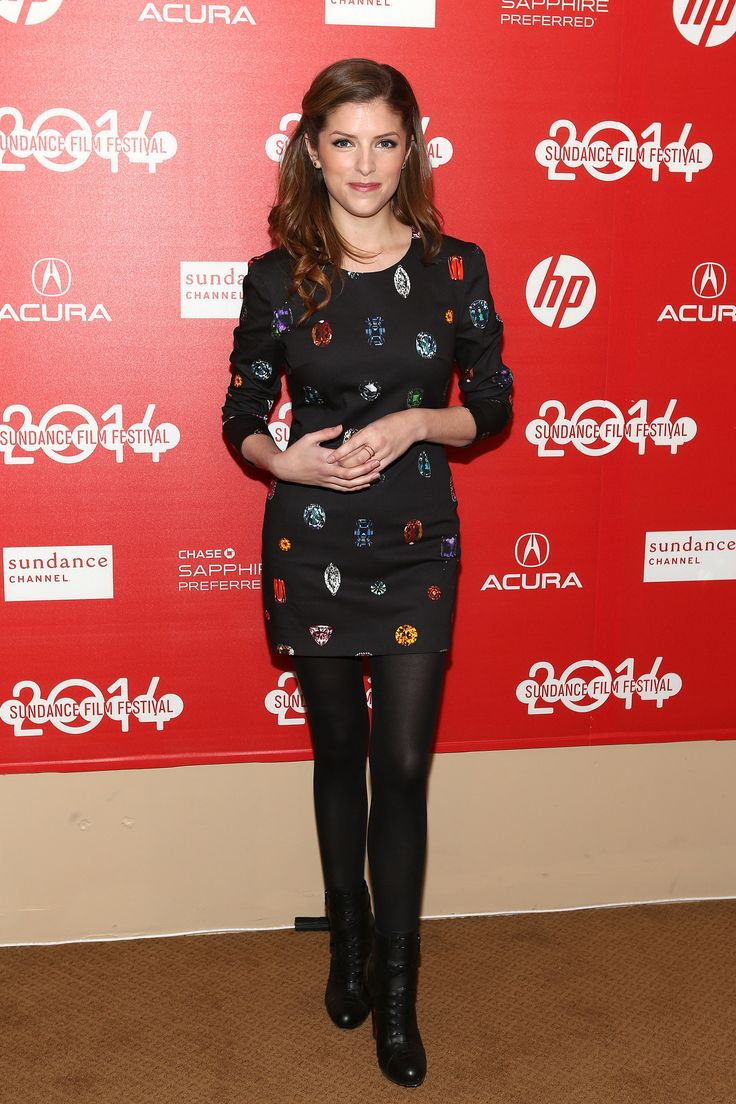Anna Kendrick mixed brights with black in a colorful print dress at the Sundance premiere of The Voices. Dana Rebecca Designs earrings and EF Collection ring completed the look.