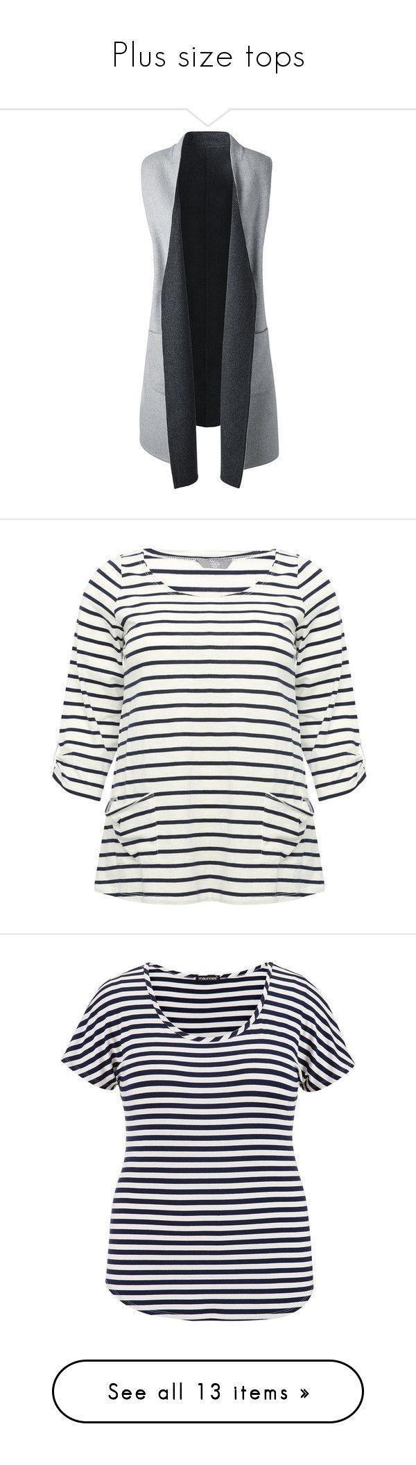 """Plus size tops"" by women-outfits ❤ liked on Polyvore featuring plus size women's fashion, plus size clothing, plus size outerwear, plus size vests, vest, grey, plus size vest, vest waistcoat, lands end vest and gray vest"