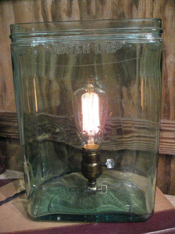 Vintage Industrial Blue Exide Battery Jar Accent Lamp