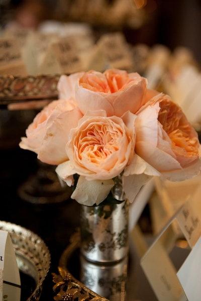 White cabbage rose bouquet with some Peach (this color) throughout and gold lace wrap!