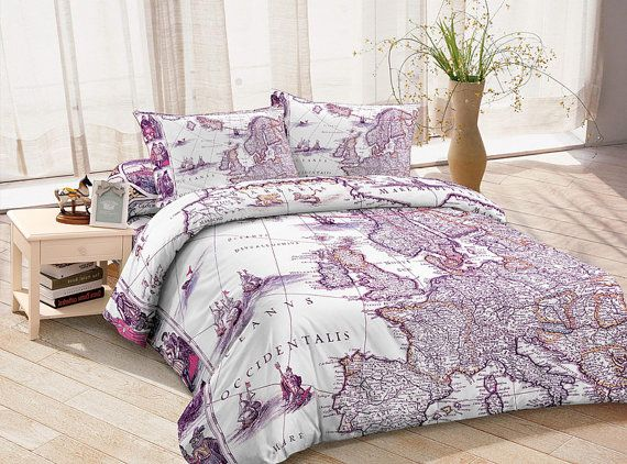Superbe Purple Duvet Cover Ancient Europe Map Bedding Sets Custom Made Bed Sheets  Queen/full/