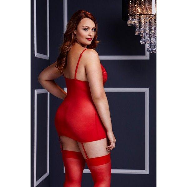 BASQUE W/ GARTER STAYS NO PANTY RED, XL