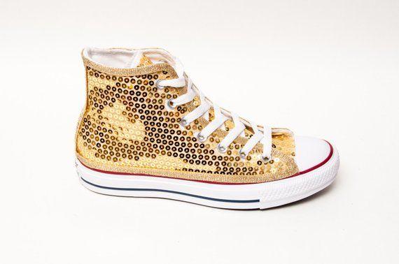 04e609796e01 Sequin - Gold Canvas Converse® Canvas Hi Top Sneakers Tennis Shoes ...