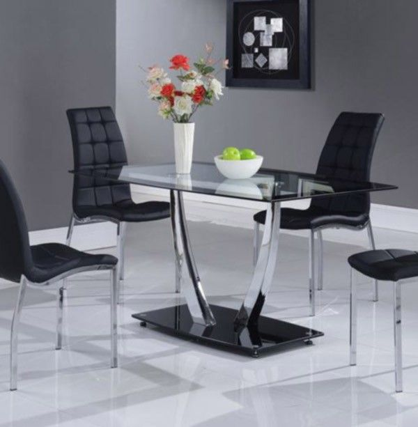 Global Furniture   Modern Black Dining Table With Glass Top   D716DT