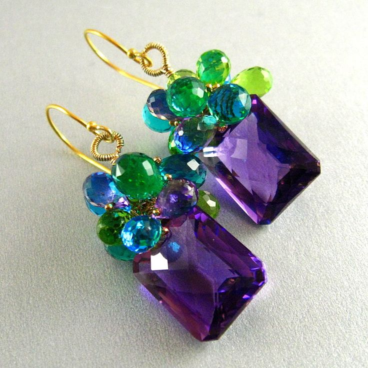 Colorful Amethyst, Peridot and Quartz Gemstone Lux Earrings. $169.00, via Etsy.