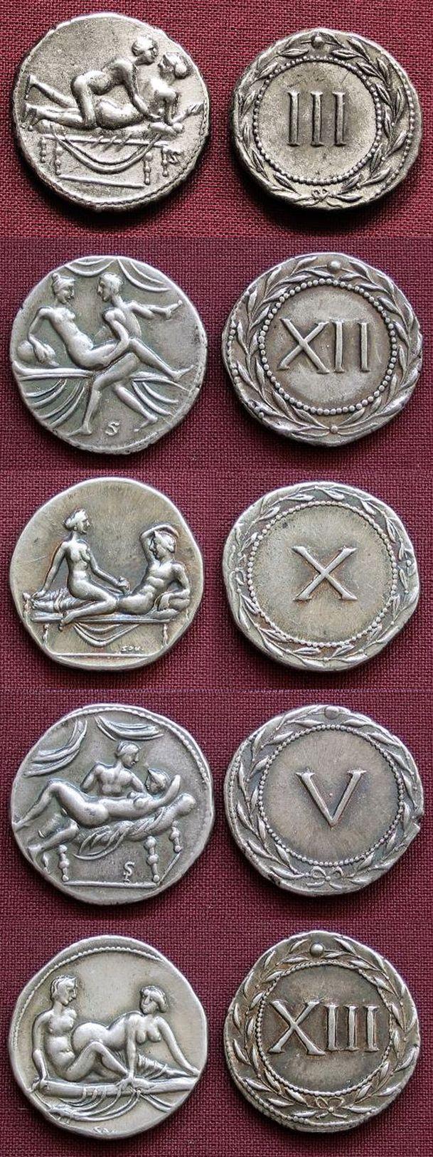 Monedas romanas que se utilizaban como símbolo para la entrada en los burdeles romanos