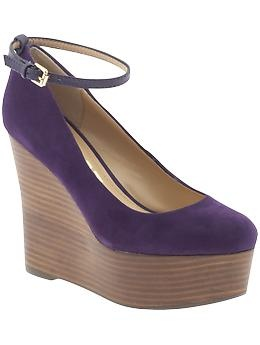 Purple wedge Mary Janes: Purple Shoes, Amazing Wedges, Black Su, Color, Crazy Wedges, Su Wedges, Suede Wedges, Purple Wedges, Cutest Shoes