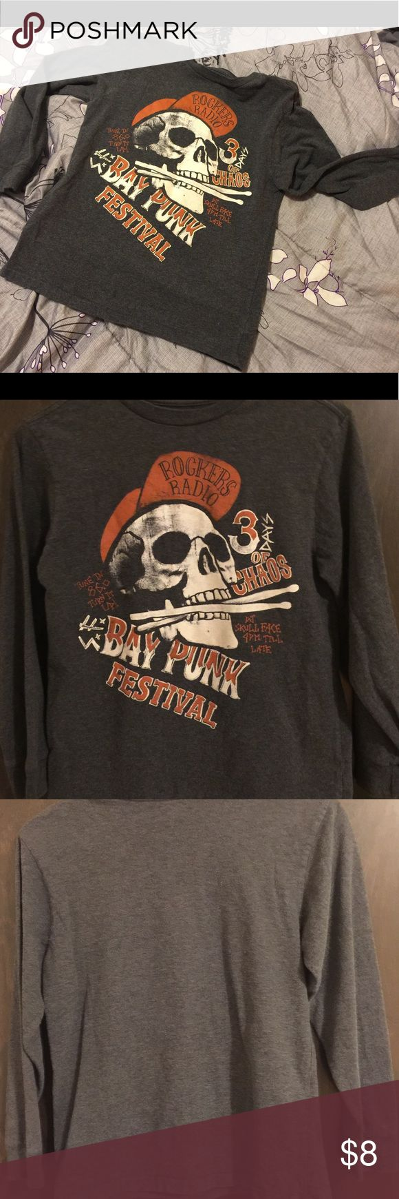 "NWOT GAP Kids ( L) 10 Long Sleeve drk gray t-shirt ""Bay Punk Festival"" T-Shirt Rare 100% Cotton sooooo soft 21 "" front collar to bottom of shirt and 14 3/4 "" Sleeve inseem GAP Kids Shirts & Tops Tees - Long Sleeve"