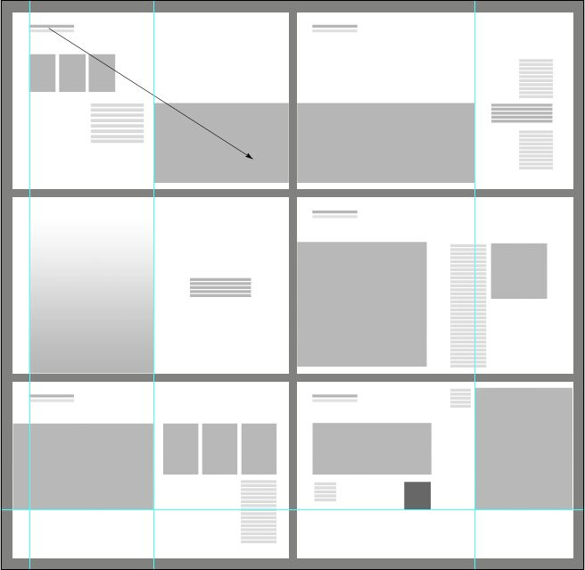 graphic layout diagram for 6 spreads. Notice: full-bleed vs. border, scale of…