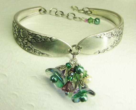 Silver Spoon Bracelet, Rose Leaf 1937, Emerald Green & Purple Flowers, Pearls