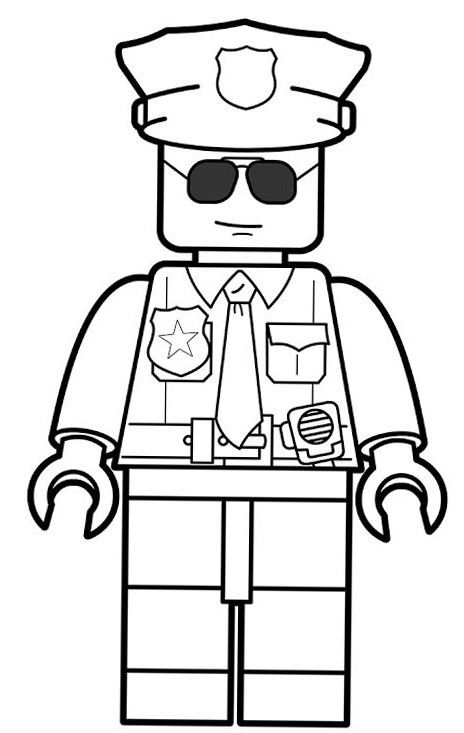 Lego Police Coloring Pages Girl
