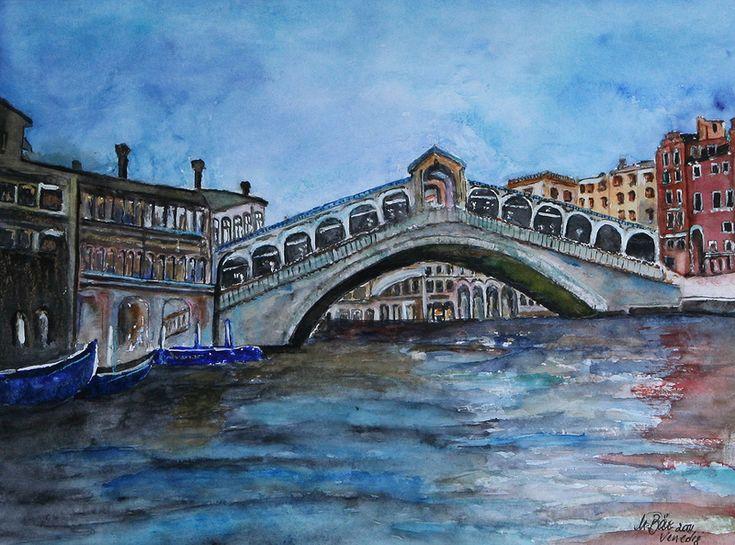 Aquarell - Rialtobrücke - ein Designerstück von Maria-Malfee bei DaWanda