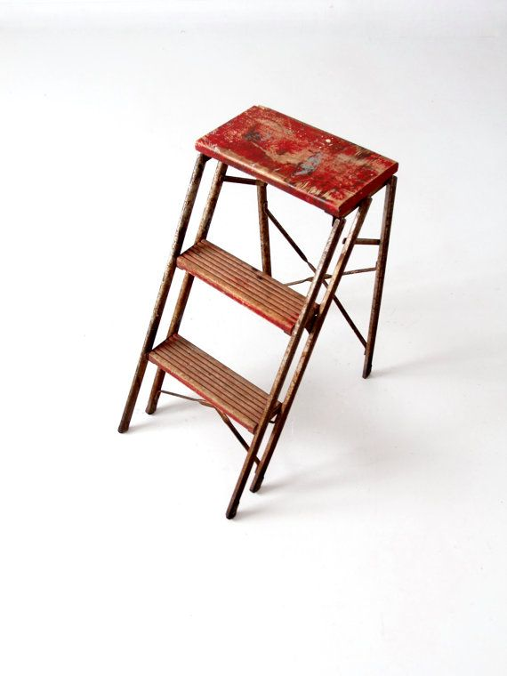SALE vintage metal step ladder red step stool by 86home on Etsy  sc 1 st  Pinterest & Best 25+ Metal step stool ideas on Pinterest | Vintage metal ... islam-shia.org