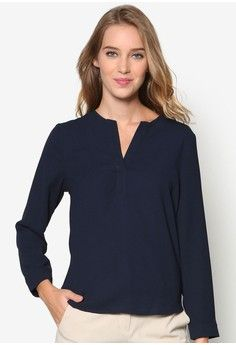 Essential Long Sleeve Blouse from ZALORA in navy_1