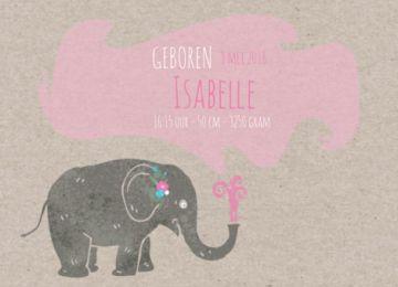 Trendy geboortekaartje in enkele uitvoering voor een meisje met grijs kartonnen achtergrond. Vrolijke olifant die water spuit, hierin staat de tekst voor de geboorte van uw baby.