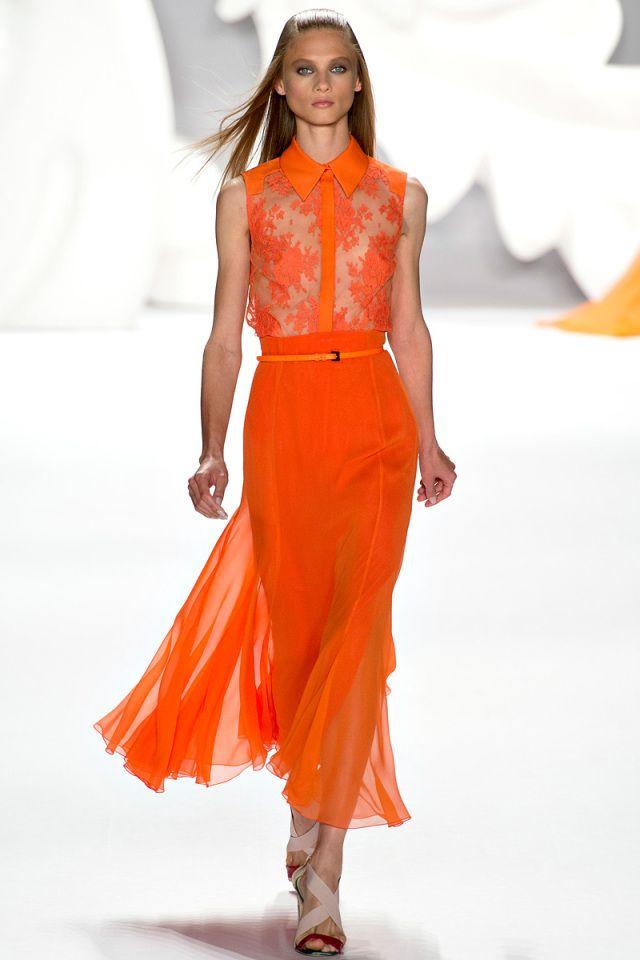 Carolina Herrera 2013 - wonderful tangerine color. note: sheer lace