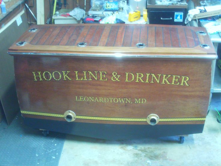 transom bar   This is my tackle station/bar hook line and drinker #boatbar