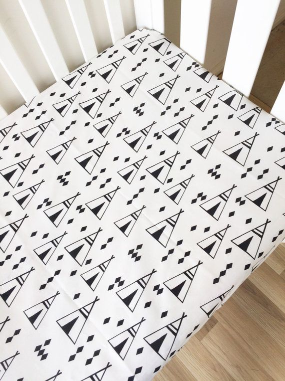 Black Teepee tents - modern Fitted Cot Sheet, Crib Sheet, Nursery Fitted sheet