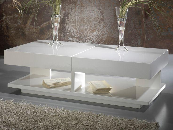 Table basse rectangulaire Longueur 120cm avec plateau coulissant HAMPTON