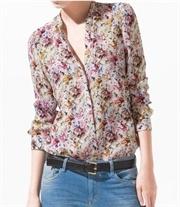 Studded shoulder floral shirt