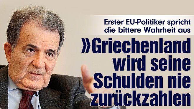 Erster EU-Politiker spricht die bittere Wahrheit aus: Jeder weiß, dass Griechenland seine Schulden niemals zurückzahlen wird http://www.bild.de/politik/ausland/romano-prodi/jeder-weiss-dass-griechenland-seine-schulden-nicht-zurueckzahlen-wird-39765020.bild.html
