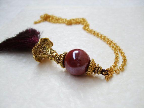 Boho style inspired burgundy tassel pendant necklace by DreamyBox
