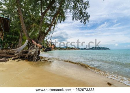 Beautiful Caucasian Woman On Wooden Swing Tied To A Tree With Ropes, Enjoying Herself On A Tropical Beach In Thailand, Koh Phangan Stock Photo 252073333 : Shutterstock #thailand #stockphoto #thailandphoto #stockimage #thailandstock #island