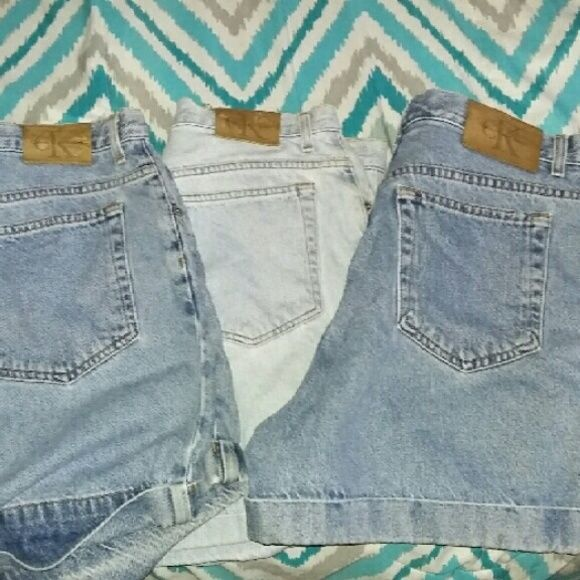 3 CALVIN KLEIN JEAN SHORTS I'm selling all 3 of them.  please feel free to ask me questions.  and they all are in perfect condition and come from a non smoker home. Calvin Klein Shorts Jean Shorts