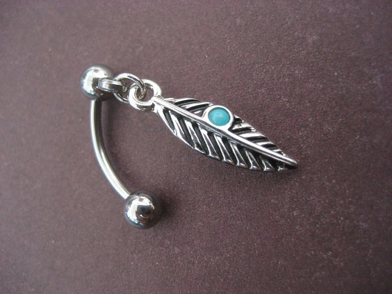 ♥ feather bellybutton ring