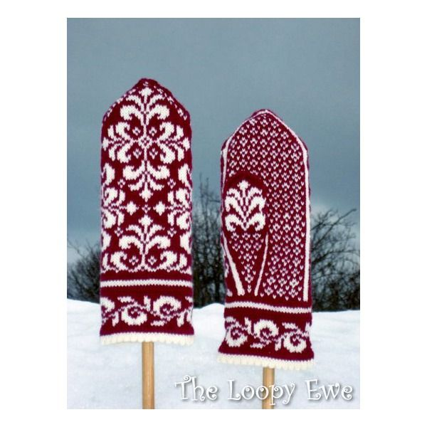 Designed by Johanne Landin, knit up these amazing mittens  with your favorite fingering weight yarn. The scroll-work design is on the back of the hand, the wrist and even the thumb!  Choose high-contrast (light-dark) colors for maximum impact and to show off the design, or select less contrast for a more subtle mitten.  Yarn needed: Fingering weight yarn, one skein of background pattern (approx. 50 gram/185 yards) and one skein for the pattern (also 50 gram/185 yards).     Needles: A set of…