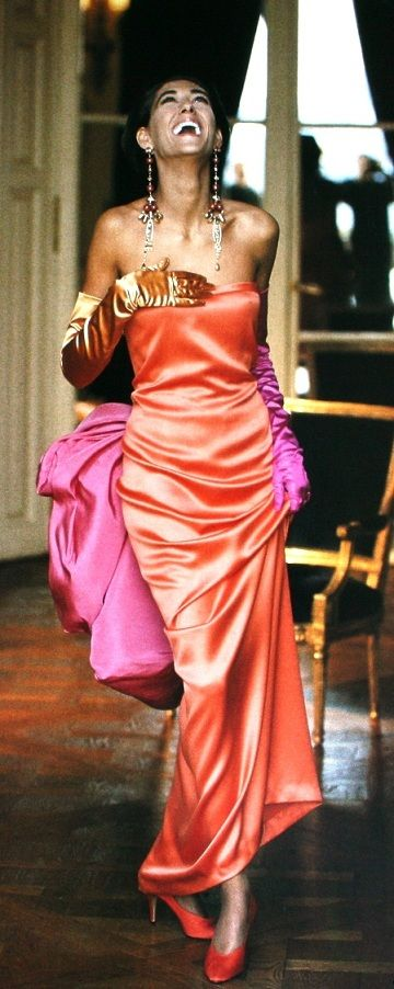 Pink & Orange - Harper's Bazaar {Dutch} April 1990, Striking Gisele Zelauy is wearing a satin dress, shoes, gloves and jewelry all from Yves Saint Laurent -  photo Neil Kirk