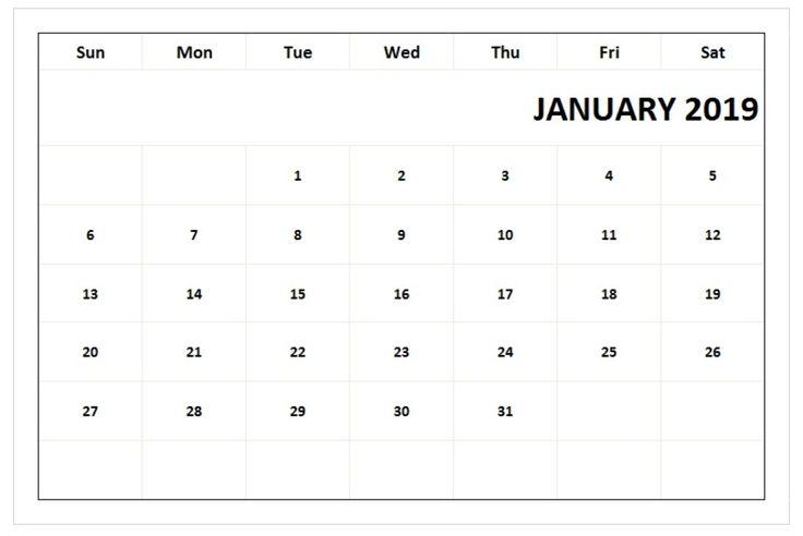 January 2019 Blank Calendar PDF 250+ January 2019 Calendar
