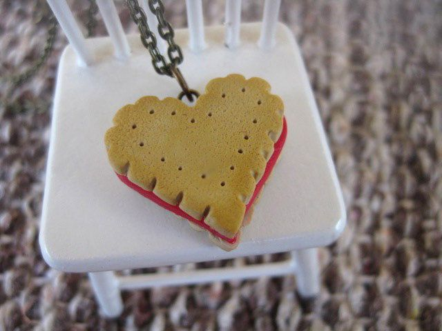 Heart Cookie Necklace _ 1/12 Dollhouse Scale Miniature Food _ Polymer Clay by MarisAlley on Etsy