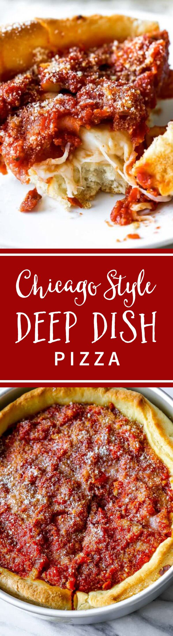 Here's how to make authentic-tasting Chicago deep dish pizza. Complete with the buttery crust, slightly sweet tomato sauce, and a thick layer of cheese. Recipe on sallysbakingaddiction.com (Pizza Recipes)