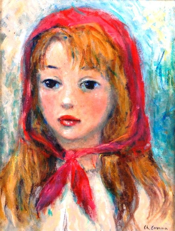 720 - Charles Camoin (1879-1965) - Jeune fille au foulard rouge, oil on canvas