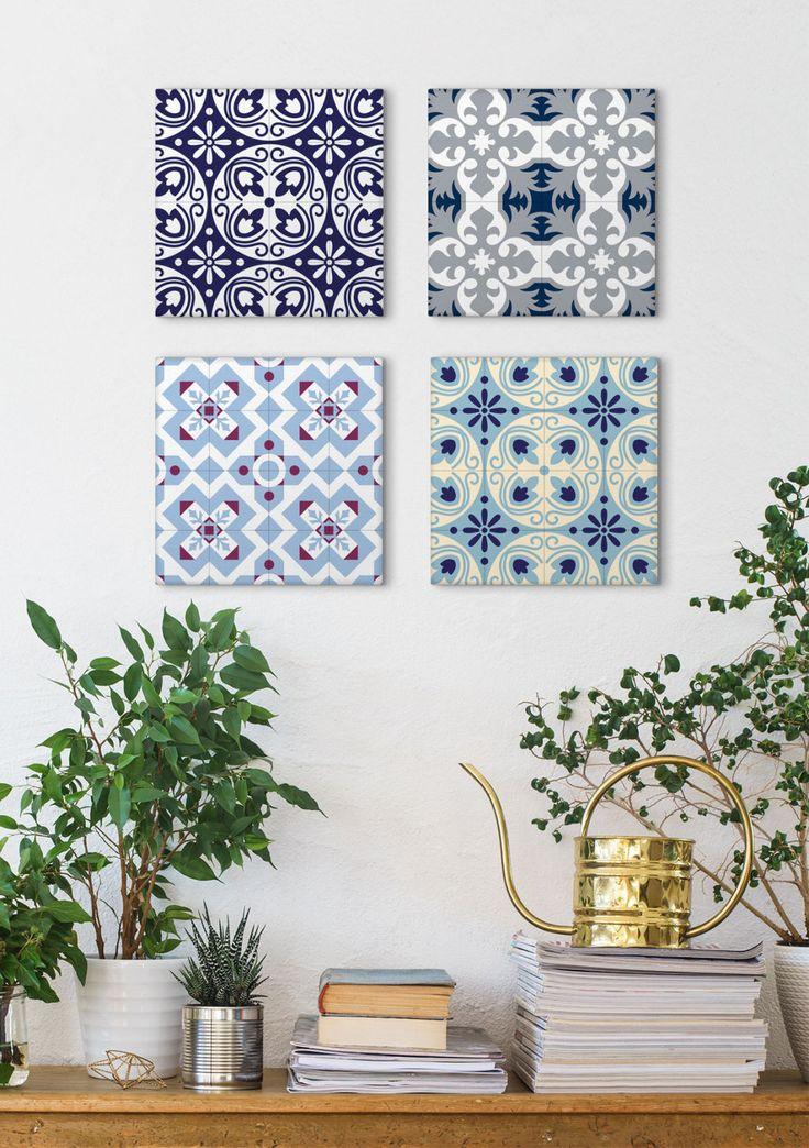 Tile Canvas Set, Set Of 4 Prints, Canvas Prints, Blue Canvas Art, Canvas Panels, Wall Art Vintage, Barcelona Tiles, Ceramic Tile Art by Macrografiks on Etsy