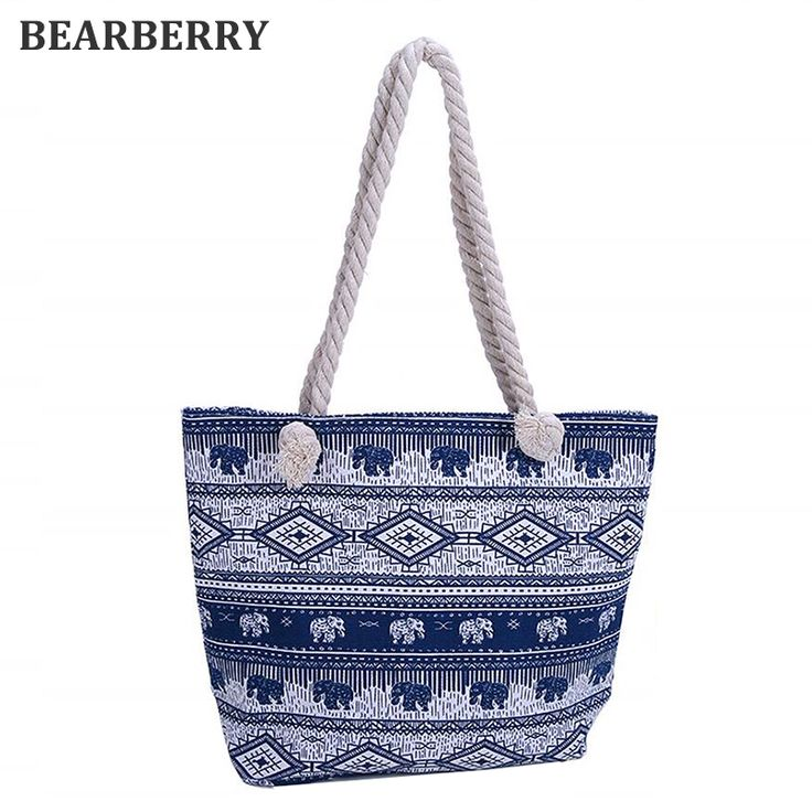 BEARBERRY 2017 Tote Female Handbags Women Canvas Beach Bag printed Elephant canvas shoulder bags large size beach bags MN517