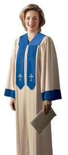"The front banners on the colorfully styled  CHORISTER CHOIR ROBE stay in place and never get lost!  features of the Chorister include:    Contrasting yoke, banners, and sleeve trim An individually tailored yoke with a ""V"" neckline, designed for a truly comfortable, custom fit  Generously cut body with  It's great if coordinating your choir's  appearance with your  sanctuary décor, or you are expressing your  choir's musical  ""personality"" through color and design."