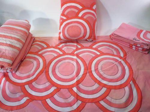 vera neumann vintage opart pink geometric sheets bedding set