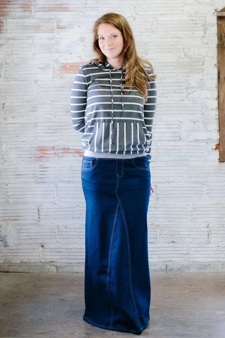 'Emaline' Dark Wash Long Jean Skirt | Soft Knit Waistband