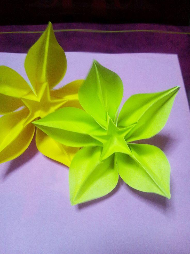 折り紙 スターフルーツ  Origami Carambola ( Carmen  Sprung )***