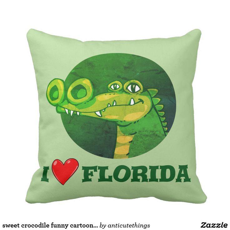 sweet crocodile funny cartoon i love florida throw pillow #pillow #throwpillow #cartoon #cartoonpillows #funny #funnypillows #illustration #home #deco #decoration #accessories #kids #florida #floridastate #state #statement #crocodile #green
