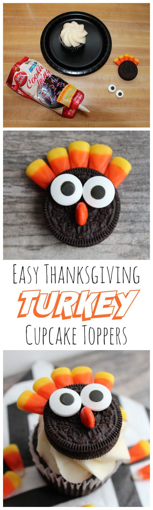 Easy Double Stuff Oreo Turkey Cupcake Toppers - my kids will definitely eat their Thanksgiving dinner for this! (Halloween Bake For Kids)